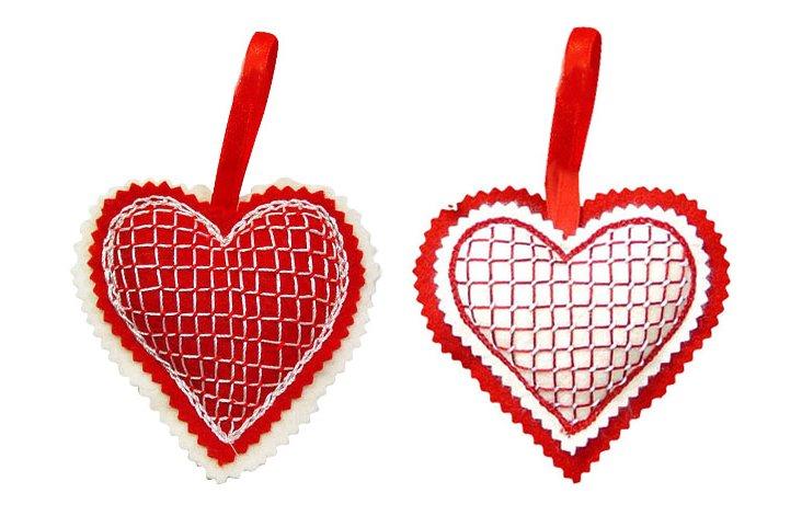 S/2 Checkerboard Heart Ornaments