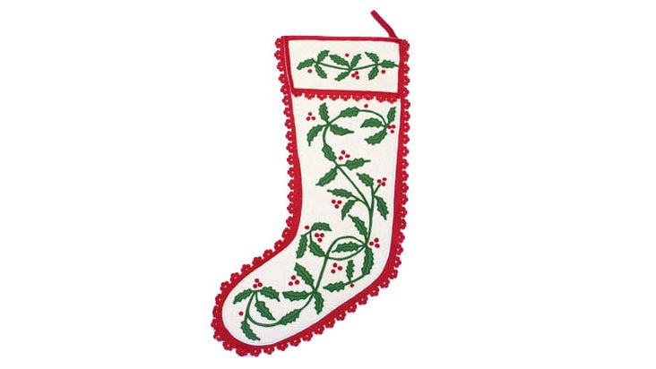 Holly Garland Stocking, Red