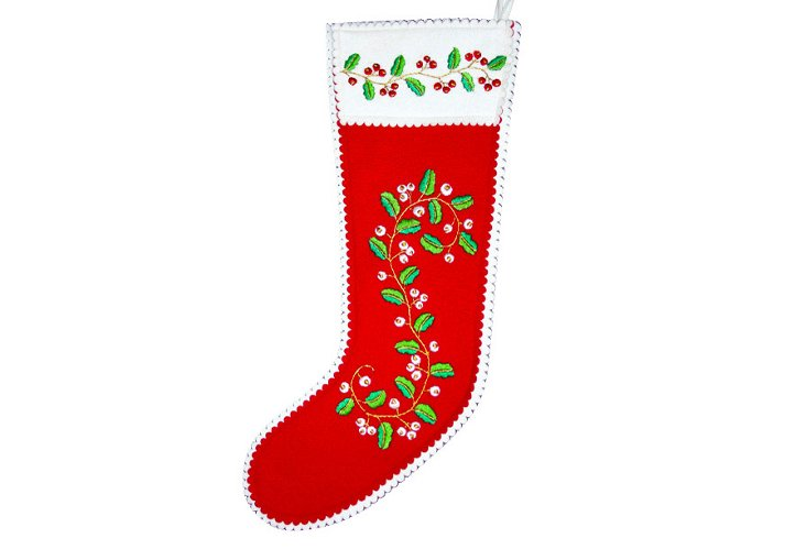 Holly Berry Stocking, Red & White