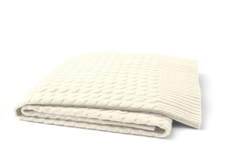 Cable-Knit Throw, Ivory