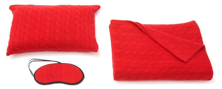 3-Pc Cashmere Cable Travel Set, Red