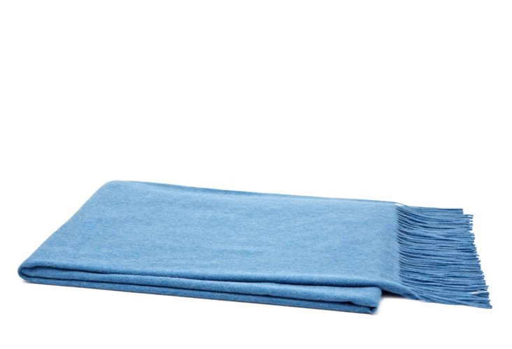 Woven Fringed Throw, Dusty Blue