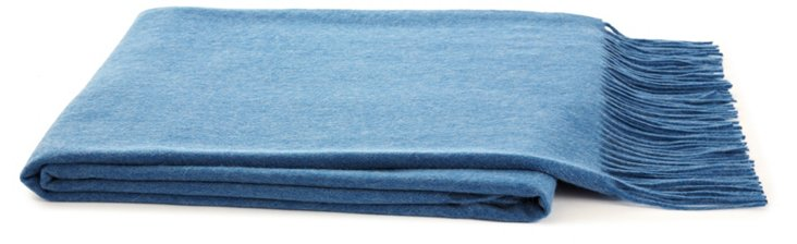 Solid Cashmere Throw, Blue