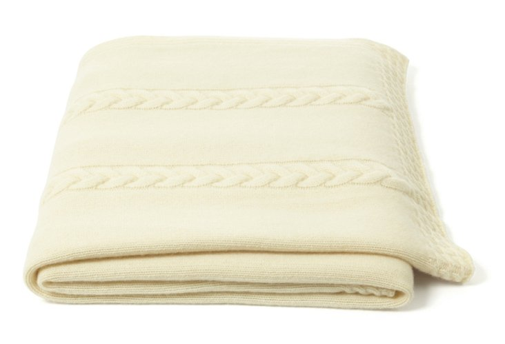 Rope Cable Throw, Ivory