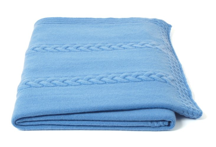 Rope Cable Throw, Litchfield Blue