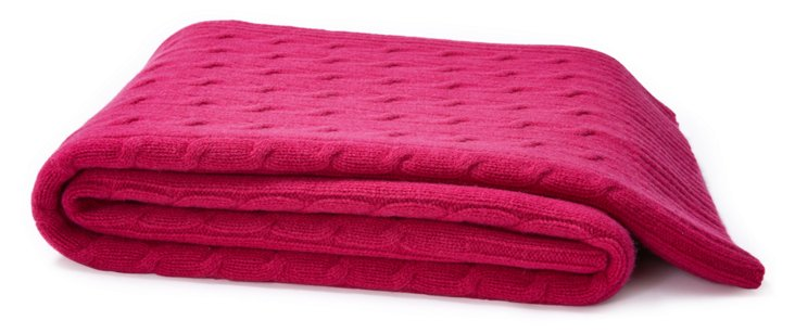 Cable Knit Cashmere Blend Throw, Magenta