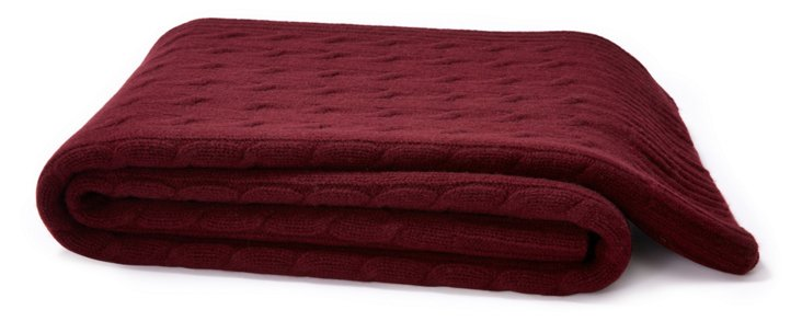 Cable Knit Cashmere-Blend Throw, Port