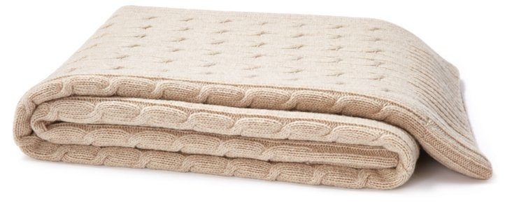 Cashmere-Blended Throw, Oatmeal