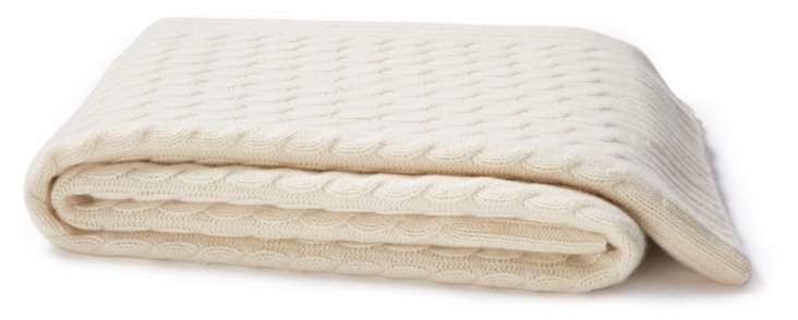 Cable-Knit Cashmere Throw, Ivory