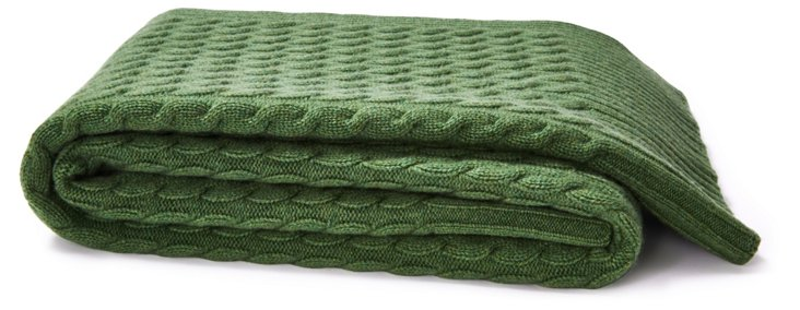 Cable Knit Cashmere Throw, Sage