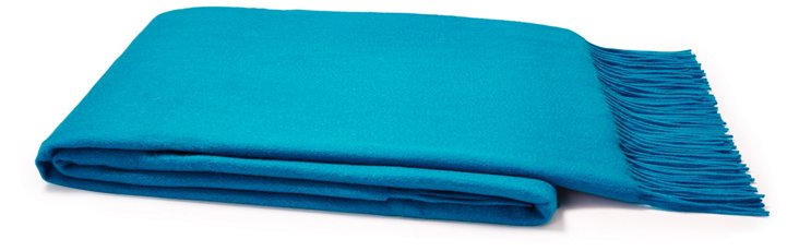 Sumptuous Cashmere Throw, Blue