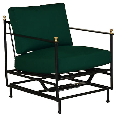 Frances Motion Lounge Chair, Green Sunbrella