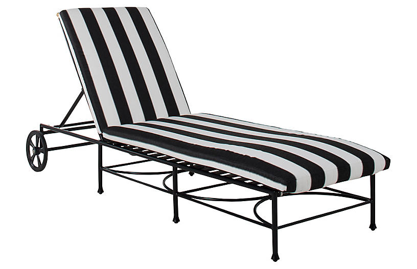 Frances Chaise, Black/White Cabana Stripe
