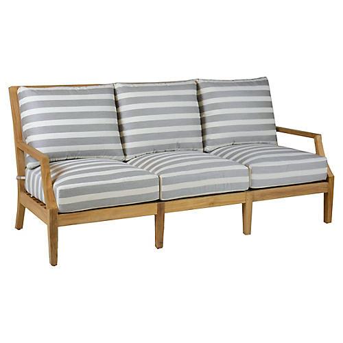 Aviva Teak Sofa, Gray/White Sunbrella