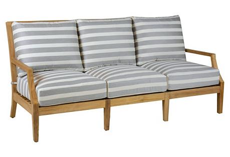 Aviva Teak Sofa, Gray/White