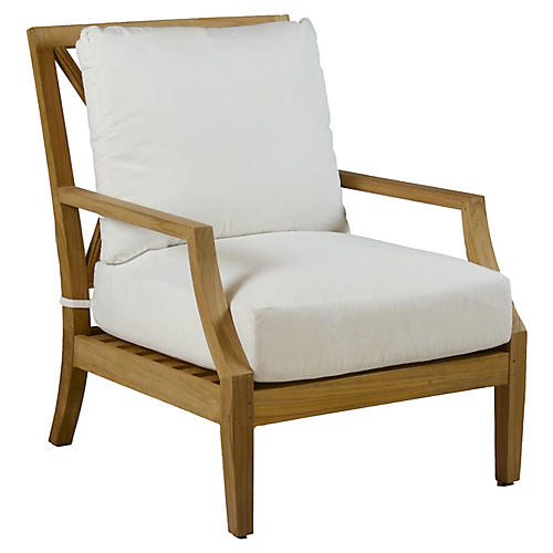 Aviva Teak Lounge Chair, White