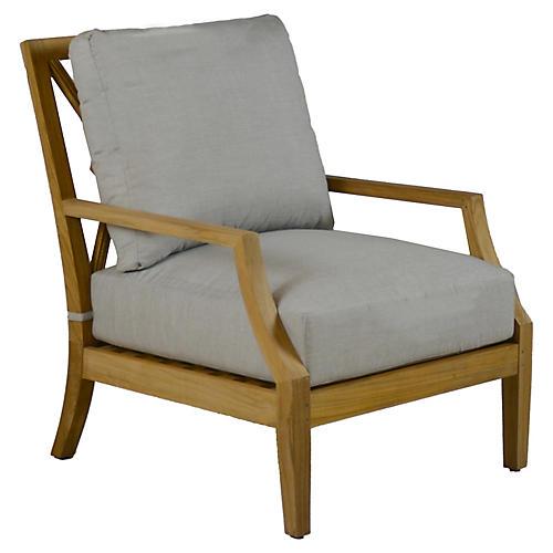 Aviva Teak Lounge Chair, Gray Sunbrella