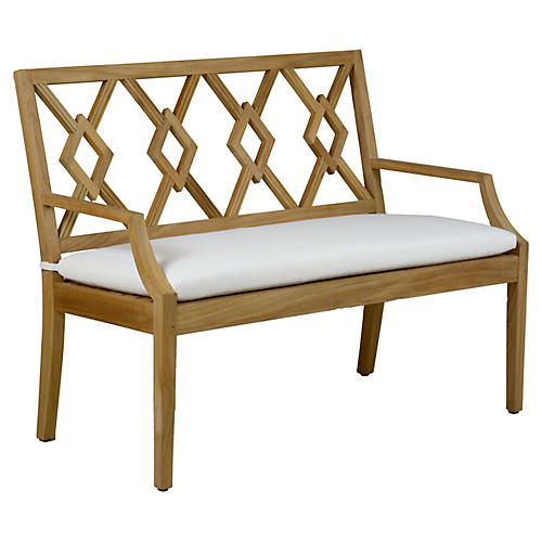 Aviva Teak Bench, White