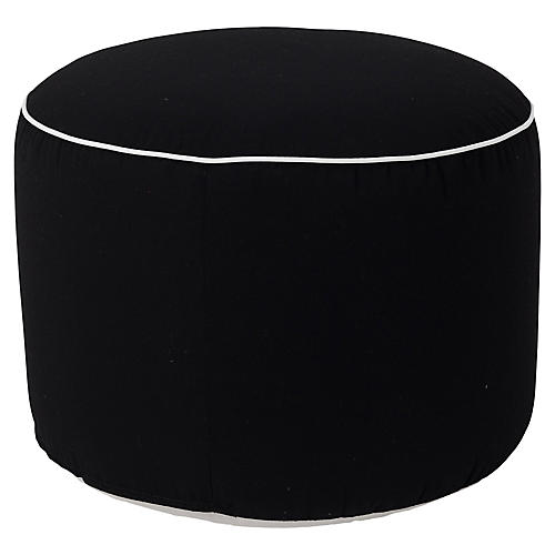 Frances Round Pouf, Black/White