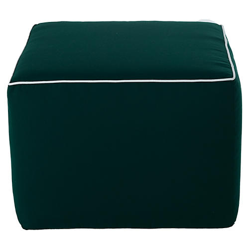 Frances Round Pouf, Green/White Sunbrella