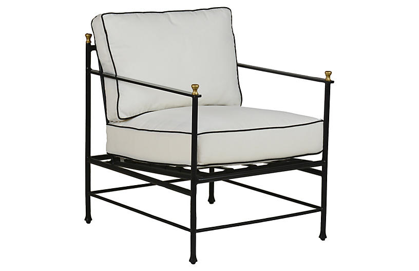 Frances Lounge Chair, White/Black