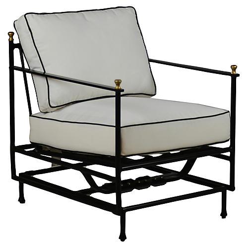 Frances Motion Lounge Chair, White/Black