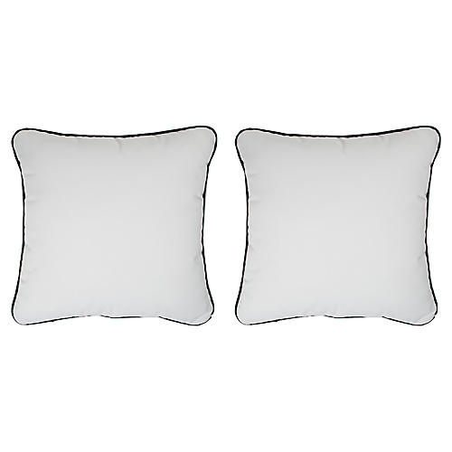 S/2 Frances Outdoor Pillows, White/Black