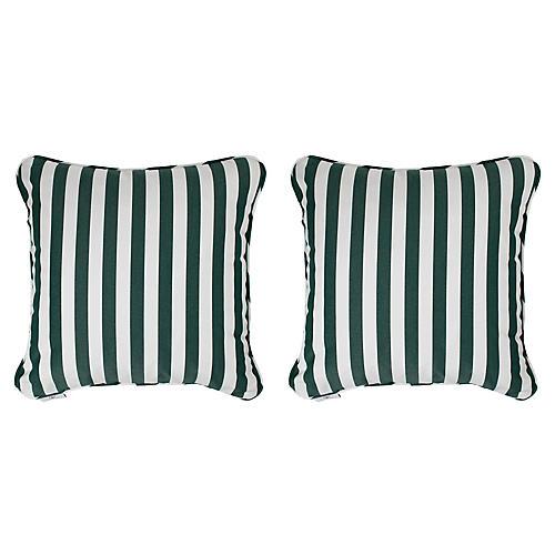 S/2 Frances Outdoor Pillows, Green/White Sunbrella