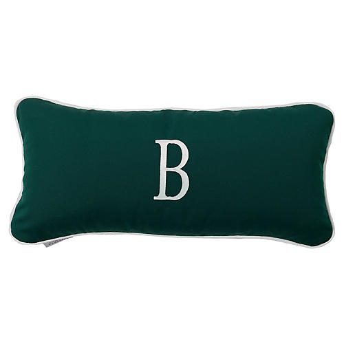 Frances Monogram Outdoor Pillow, Green Sunbrella