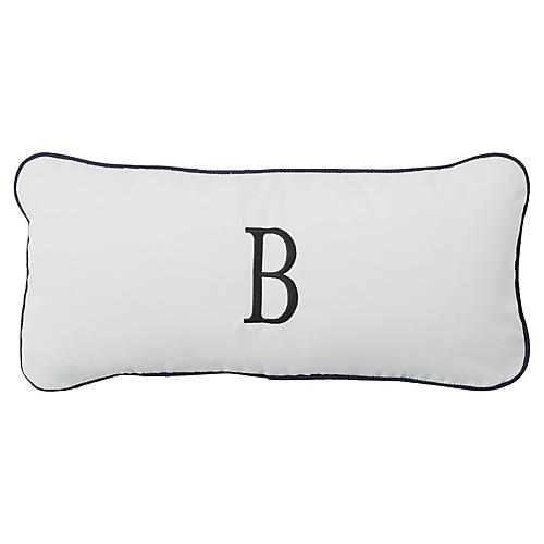 Frances Monogram Outdoor Pillow, White
