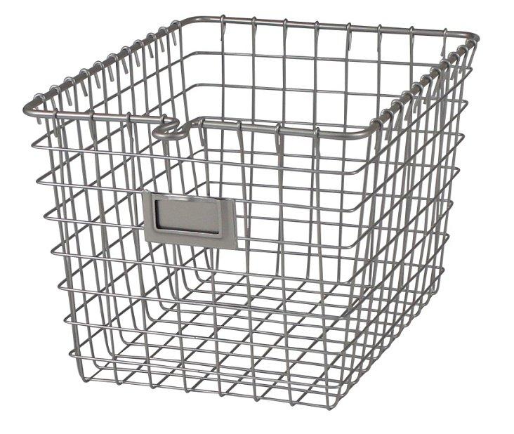 Small Storage Basket, Satin Nickel
