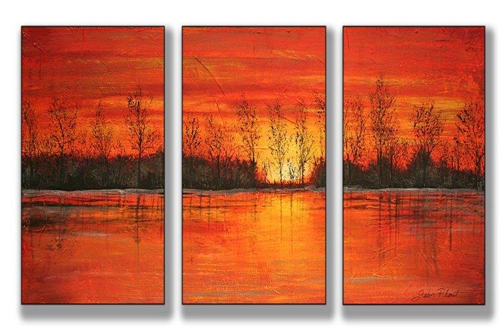 Autumn Sunset Mini Triptych