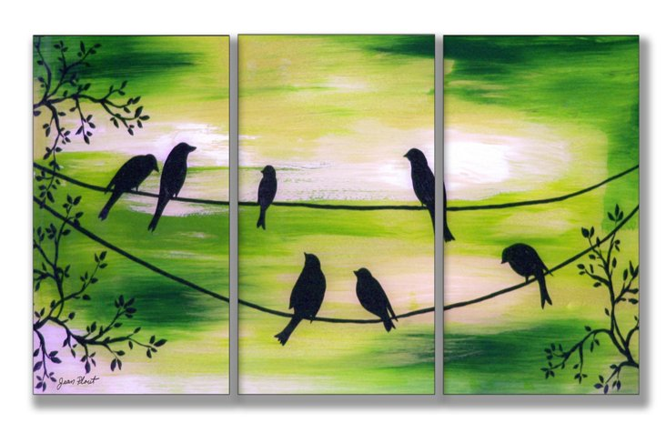 Birds On Wires Green Mini Triptych