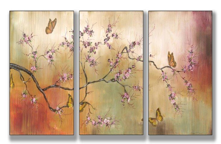 Blossoms & Butterflies Mini Triptych