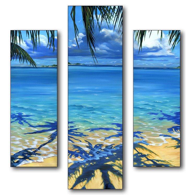 Palm Tree Shadows Mini Triptych
