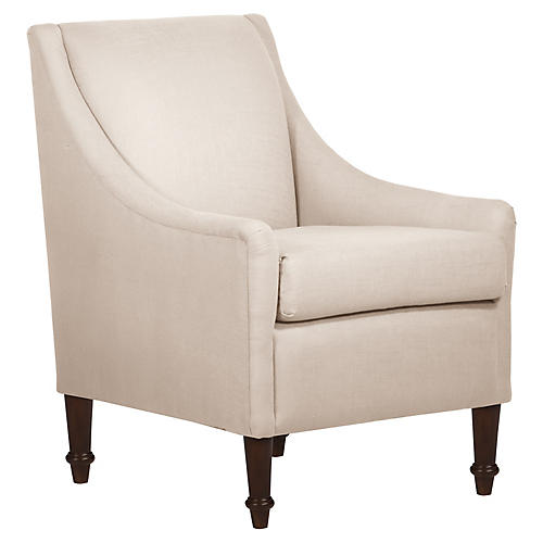 Holmes Accent Chair, Talc Linen