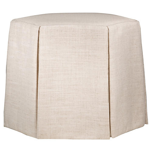 Savannah Skirted Ottoman, Talc Linen