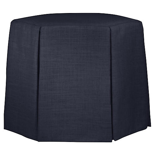 Savannah Skirted Ottoman, Navy Linen