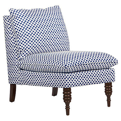 Daphne Slipper Chair, Blue Dots