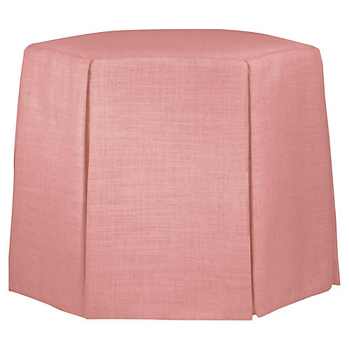 Savannah Skirted Ottoman, Petal Linen