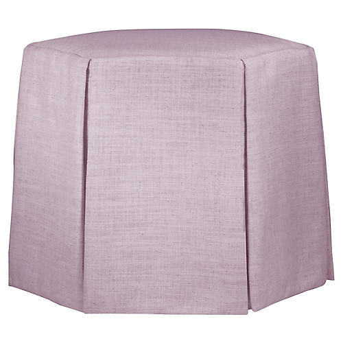 Savannah Skirted Ottoman, Lilac Linen