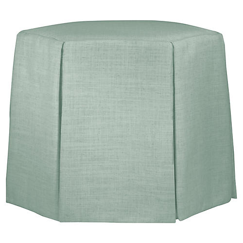 Savannah Skirted Ottoman, Mint Linen