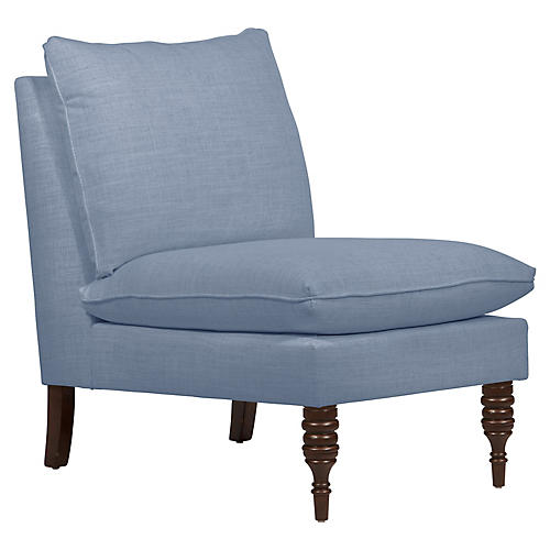 Daphne Slipper Chair, French Blue Linen