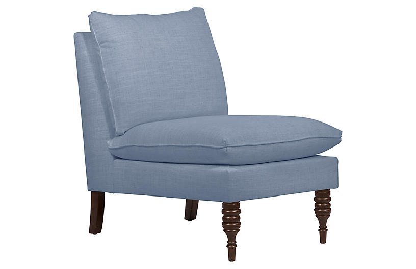 Daphne Slipper Chair, French Blue Linen