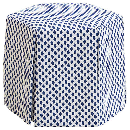 Savannah Skirted Ottoman, Navy Dots