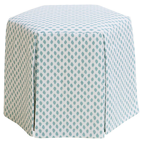 Savannah Skirted Ottoman, Sky Blue Dots