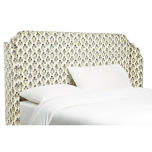 Aurora Wingback Headboard, Taupe Floral