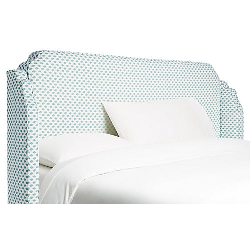 Aurora Wingback Headboard, Sky Blue Dots
