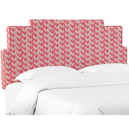 Paxton Headboard, Pink Jetty Stripe
