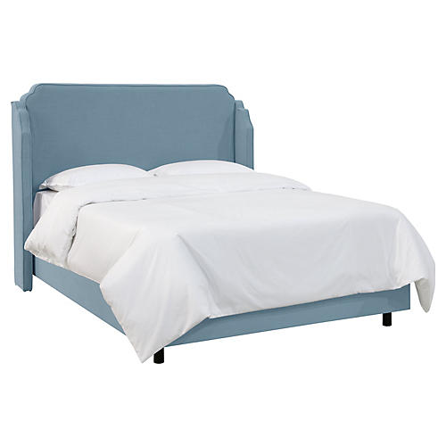 Aurora Wingback Bed, French Blue